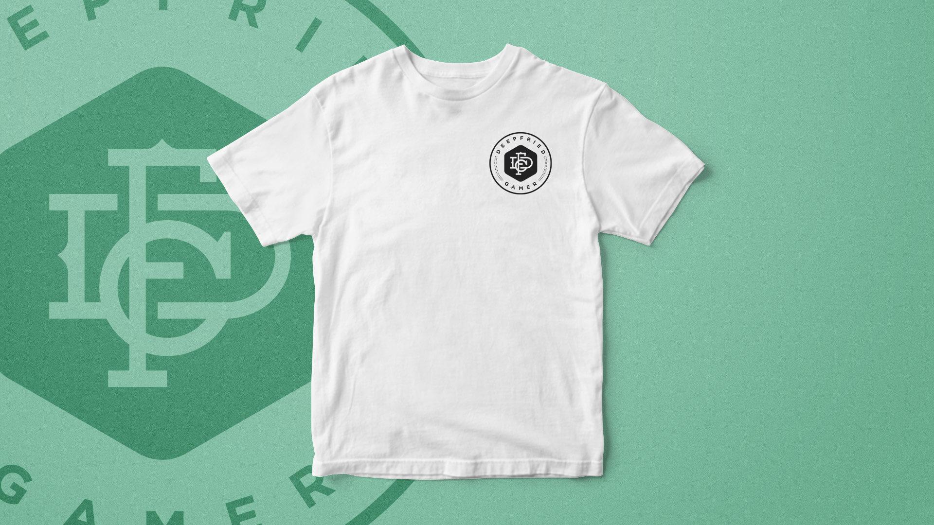 Deep Fried gamer logo applied to t-shirt
